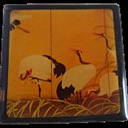 Japanese WAJIMA-NURI / PAULO Little Box Cranes Black Lacquerware Pillbox