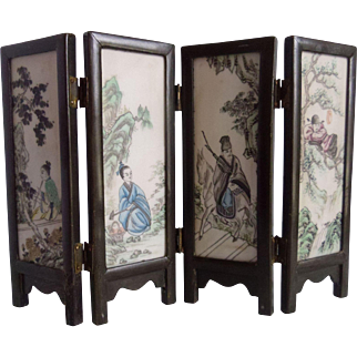 Chinese 4 Panel Painted Porcelain & Wood Table Screen Taoist Immortals