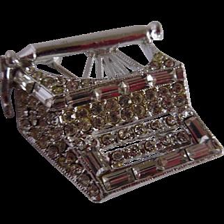 Old Fashioned Typewriter Rhinestone Brooch Pin