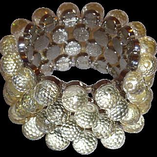 Lucite Golf Ball Faceted Bead Expandable Bracelet Retro Modern