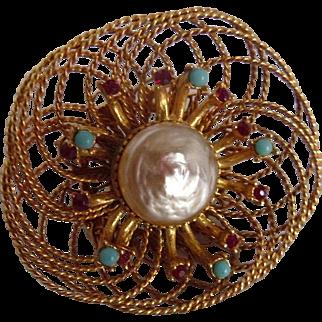 Vintage Florenza Designer Goldtone Nest Brooch
