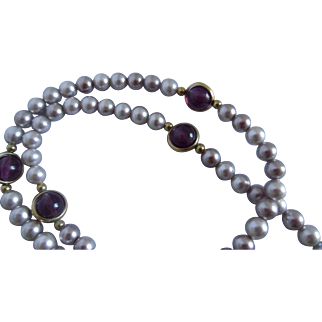 Costume Faux Pearl and Faux Amethyst Flapper Bead Strand Necklace