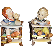 Porcelain Ceramic Children in High Chairs Figurines