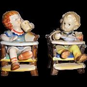 Porcelain Ceramic Children in High Chairs Figurines