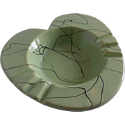 Hull Pottery Heart Shaped Ashtray Dish Tray Plate Mint Green USA #18 Retro