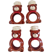 Ceramic Teddy Bear Chef Napkin Rings (4)