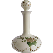 Tall White Milk Glass Apothecary Decanter Bottle with Stopper Tole Painted
