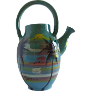 Wassi JAMAICA Art Teapot Pottery TURQUOISE Tropical Palm Trees Handmade Jamaican