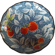 Japanese Hand Painted Dish Signed Blue White and Strawberries