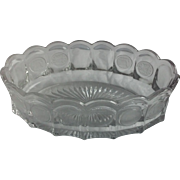 "Fostoria Frosted Coin Glass Oval Dish Bowl 9"" 1886"