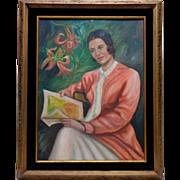Estate Vintage W. Wilkie Woman Canvas Panel Oil Painting w. Vintage Ornate Frame
