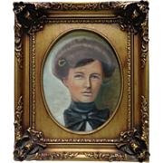 C. Young Woman Portrait Colored Pencil Drawing w. Gold Ornate Vintage Frame