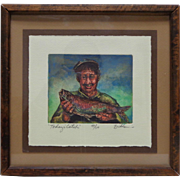 """Signed 1935 Tom Brittain """"Today's Catch"""" Etching Print w. Vintage Wooden Frame"""