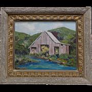 "Stod Herbert Vintage ""Colorado Barn"" Oil Painting w. Wooden Vintage Decor Frame"