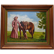 1975 Foreman Woman & Horse Canvas Panel Oil Painting w. Vintage Decor Wood Frame
