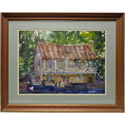 """Old Mary Gruver """"Wine Tasting Cellar"""" Watercolor Painting w. Vintage Wood Frame"""