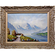 Cristallo Vintage Misty Mountains Oil Painting w. Beautiful Vintage Wooden Frame