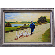 """Karl Opava Vintage Oil Painting """"Woman with Geese"""" w. Vintage Decor Wood Frame"""