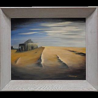 Cavanaugh Vintage Landscape Oil Painting w. White Vintage Decor Wooden Frame