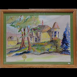 Vintage '91 Jim Staples Uphill Road Watercolor Painting w. Vintage Wooden Frame