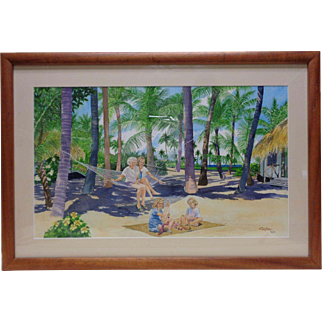 1996 Signed Gupton Tropical Landscape Watercolor Painting in Vintage Wooden Frame