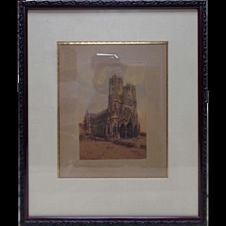 1915 Marcel Augis Cathedrale de Reims, France Etching w. Victorian Vintage Frame