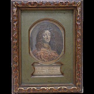 Antique Print of César-Pierre Richelet Portrait w. Very Ornate Vintage Frame