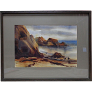 Vintage '65 Tom M. Walker Seascape Watercolor Painting w. Vintage Wooden Frame