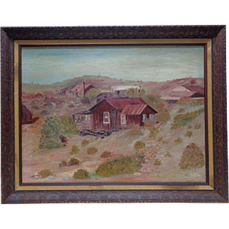 1973 Claudine Y. Old Mining Town in Oatman, Arizona Oil Painting on Board - Framed