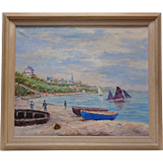 Vintage Signed William Hoffman Seascape Scenery Oil Painting w. Vintage Style Frame