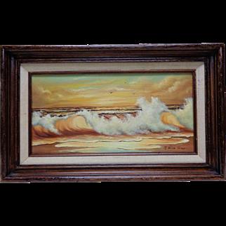 Old Shirlee Rapp Crashing Waves Seascape Oil Painting w. Vintage Wooden Frame