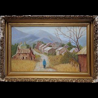 "1971 Sue Sibley ""Homeward"" Oil Painting on Wood Panel w. Gold Vintage Wood Frame"