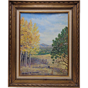 """1952 E.M. Shafer """"Farewell to Summer"""" Oil Painting on Canvas Panel in Antique Frame"""