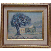 Framed Old Middle Eastern Architectural Landscape Oil Painting on Canvas Panel