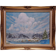 Old L. Hudson '79 Mountain Stream Oil Painting on Canvas in Vintage Ornate Frame