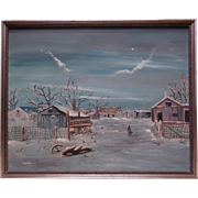 Vintage Signed Lela Bliss Winter Landscape Scenery Oil Painting on Canvas Panel