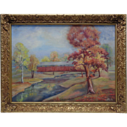 Beautiful Old Autumn Stream Oil Painting on Canvas Panel Signed Mary J. Alexander