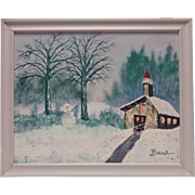"""1983 Signed Anne C Bodack """"Church in the Winter"""" Oil Painting on Canvas Panel"""