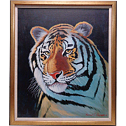 Stunning Thomas L. Kromen '77 Realistic Tiger Portrait Oil Painting (Framed)