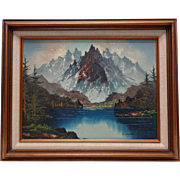 Old Signed A. Angelini Majestic Mountains & Lake Landscape Oil Painting (Framed)