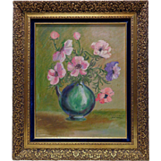 Faye Baykey '67 Pink Flowers Still Life Oil Painting in Gold Vintage Style Frame