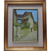 Signed A. Mamfredi Italian C.O.A. Vintage Architectural Landscape Oil Painting
