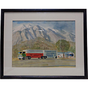 """Charles E. Hendrix '76 """"Owens Valley Truck Stop"""" Watercolor Painting (Framed)"""