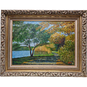 American 20th Century George Velich Trail by Lake Oil Painting on Board (Framed)