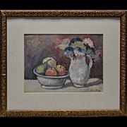 Estate 1959 G. Donald Fruit Bowl & Flowers Still Life Oil Painting on Board