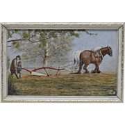 H. Ankrett 1980 Cultivator Pulled by Horses Oil Painting on Board (Framed)