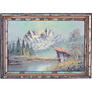 Old L. Sommer Mountains & Lake Landscape Oil Painting in Reclaimed Wood Frame