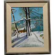 Signed Old Estate Found Cabin Winter Scene Oil Painting on Canvas Panel (Framed)