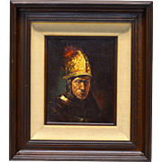 L. Williams Vintage Roman Soldier in Armor Oil Painting on Canvas Panel (Framed)
