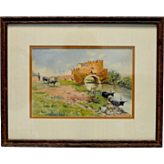 """Signed Estate Vintage """"Bulls by River"""" Watercolor Painting (Matted & Framed)"""
